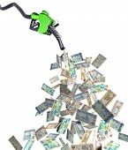 picture of fuel economy  - fuel nozzle with dirham banknotes 3d illustration - JPG
