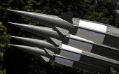 stock photo of anti  - Surface to air anti aircraft missiles on louncher - JPG