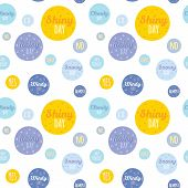 foto of windy weather  - Unusual seamless vector childish pattern with cartoon and funny smiley weather icons - JPG