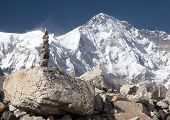 picture of cho-cho  - Mount Cho Oyu with stone man  - JPG