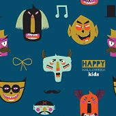 picture of evil  - Bright trick or treat seamless pattern in vector - JPG