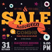 stock photo of happy halloween  - Bright trick or treat poster in vector - JPG