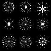 stock photo of starburst  - Set of Starbursts SYmbols Isolated on Black Background - JPG