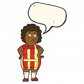 image of apron  - cartoon woman in kitchen apron with speech bubble - JPG