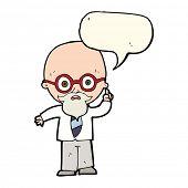 stock photo of professor  - cartoon professor with speech bubble - JPG