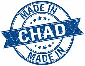 stock photo of chad  - made in Chad blue round vintage stamp - JPG