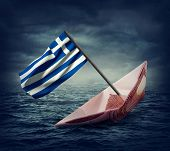 pic of crisis  - Sinking euro ship with a flag of Greece - JPG