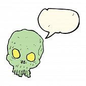 pic of spooky  - cartoon spooky skull with speech bubble - JPG