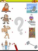 pic of brain-teaser  - Cartoon Illustration of Education Element Matching Game for Preschool Children with People and Objects - JPG