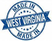 picture of virginia  - made in West Virginia blue round vintage stamp - JPG