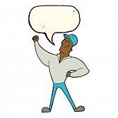 pic of striking  - cartoon man striking heroic pose with speech bubble - JPG