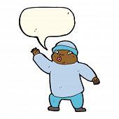 stock photo of crazy hat  - cartoon man in hat waving with speech bubble - JPG