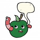 picture of worm  - cartoon worm in apple with speech bubble - JPG