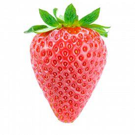 image of sweet food  - Sweet Juicy Strawberry Isolated on the White Background - JPG