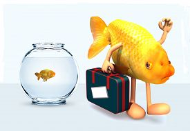 image of fishbowl  - red fish with arms and legs that take a suitcase and leave fishbowl 3d illustration - JPG