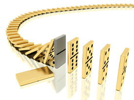 stock photo of change management  - On a image is shown golden domino bones on a white background in action of dominoes effect which was halted with help of particular domino bone placed instead of the usual which lies close - JPG