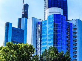 pic of frankfurt am main  - Skyline of Frankfurt am Main, Hesse, Germany ** Note: Visible grain at 100%, best at smaller sizes - JPG