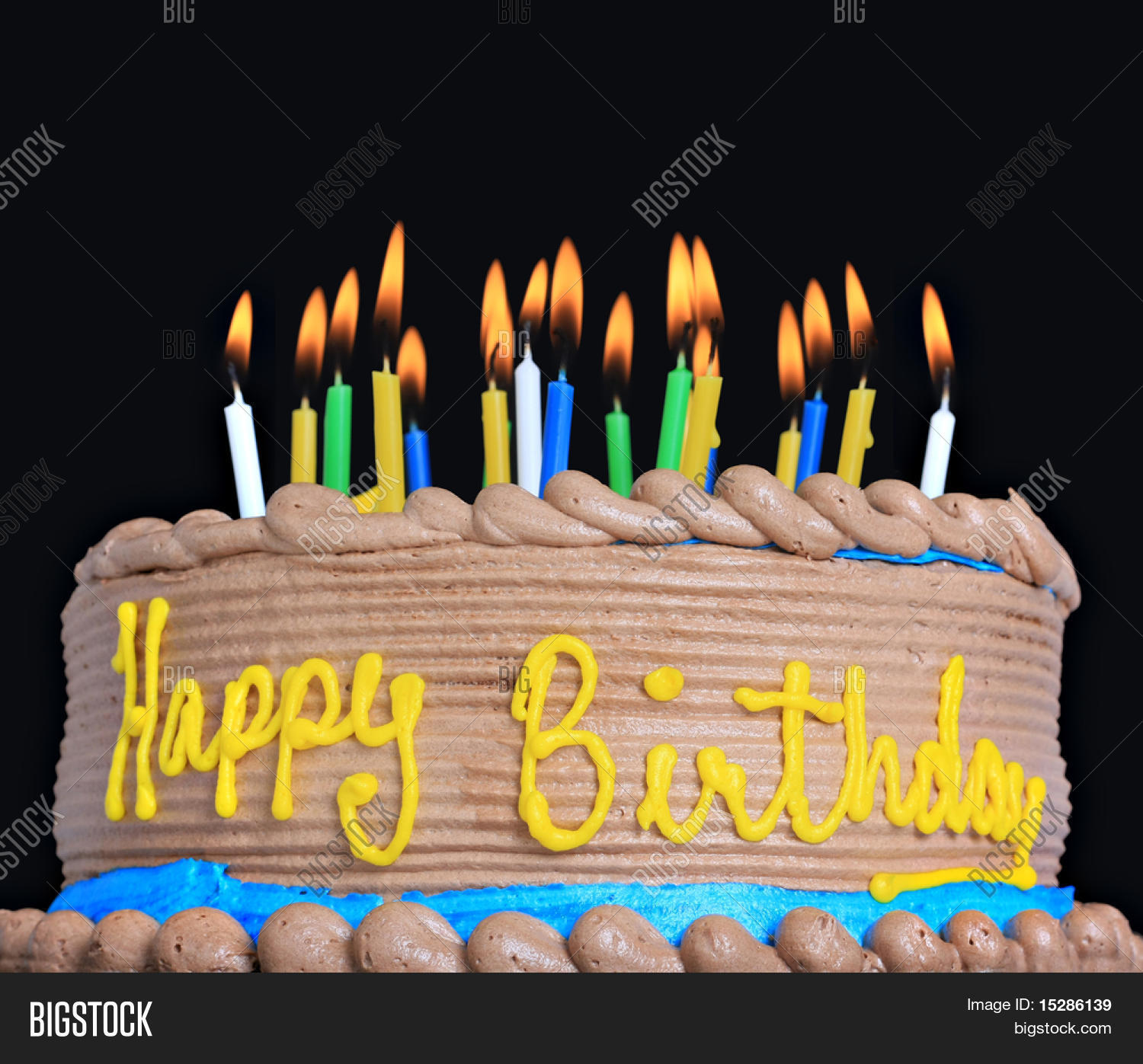 Happy Birthday Cake Lots Candles Image & Photo