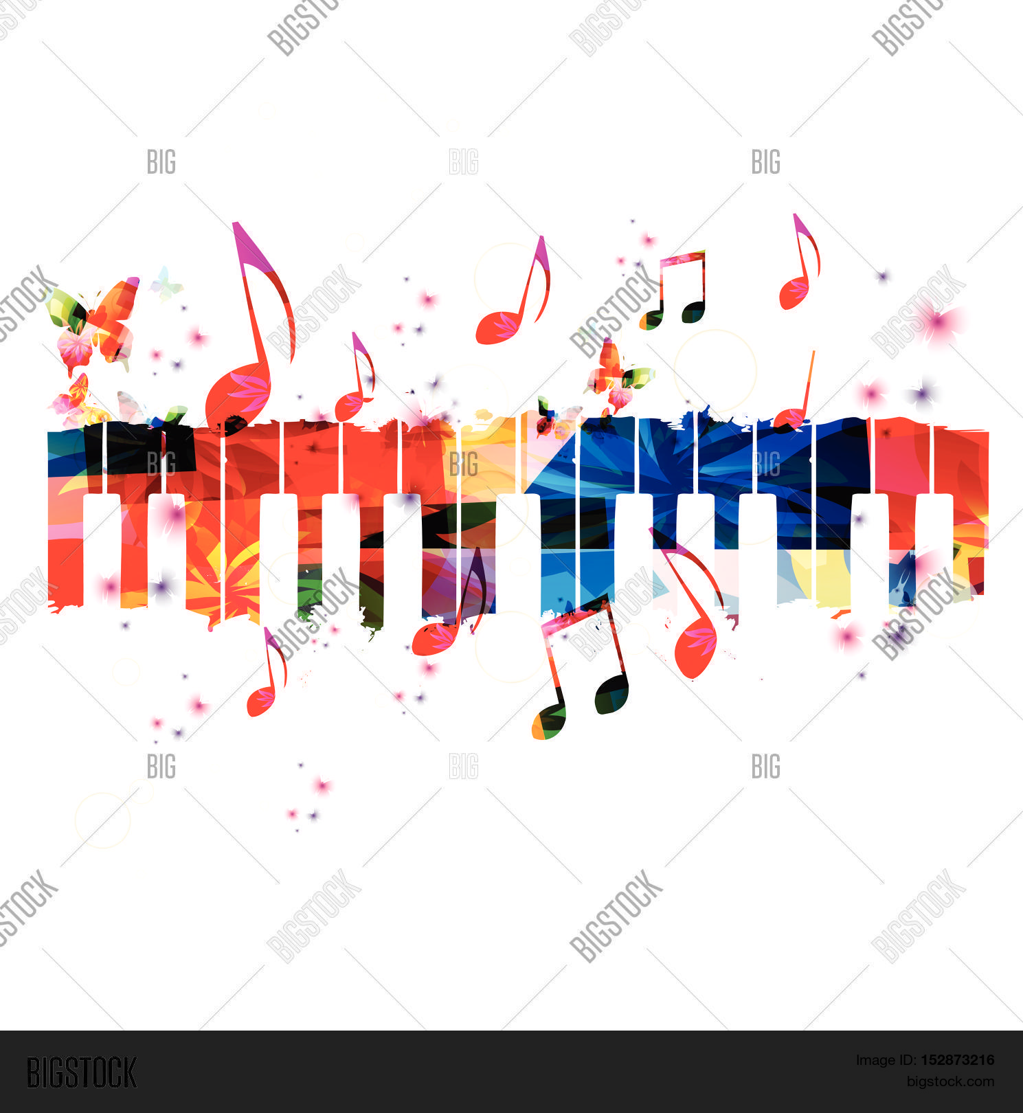 Poster design notes - Creative Music Style Template Vector Illustration Colorful Piano Keys Music Instrument Background With Music