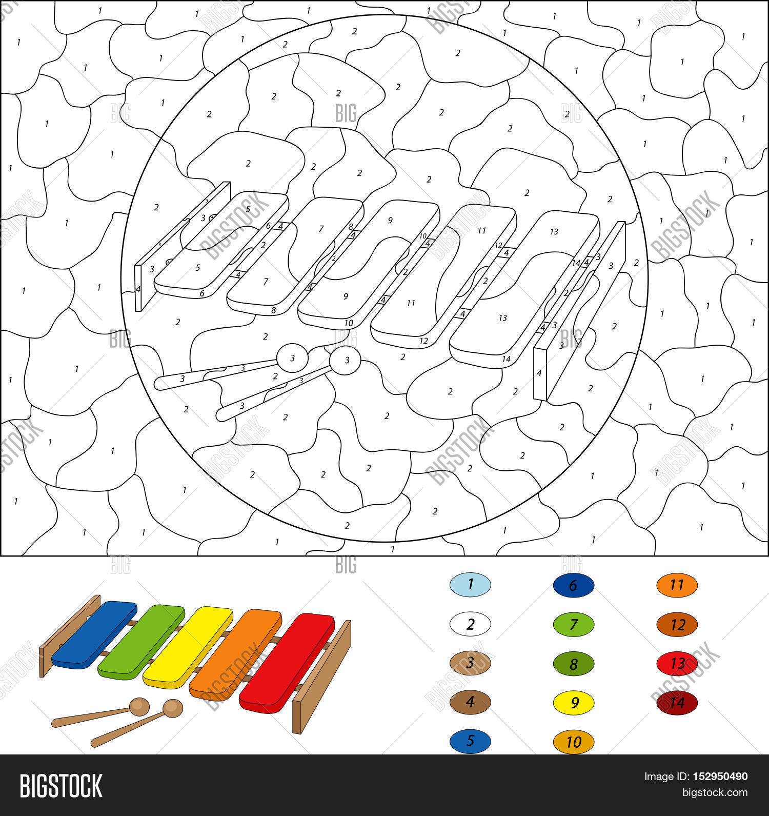 Game color by numbers - Cartoon Xylophone Coloring Book Isolated On White Color By Number Educational Game For Kids