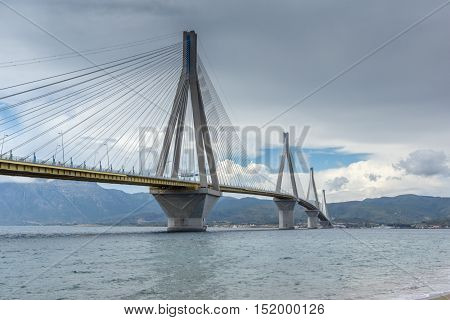 Panorama of The cable bridge between Rio and Antirrio, Patra, Western Greece