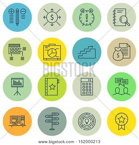Set Of Project Management Icons On Schedule, Board, Time Management And Other Topics. Editable Vecto