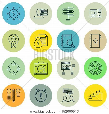 Set Of Project Management Icons On Computer, Discussion, Warranty And Other Topics. Editable Vector