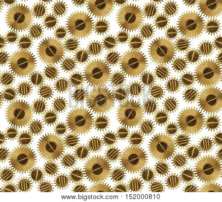 macro of old brown pinions seamless background