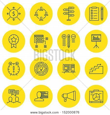 Set Of Project Management Icons On Board, Present Badge, Time Management And Other Topics. Editable