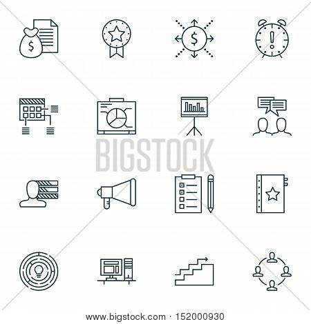 Set Of Project Management Icons On Schedule, Personal Skills, Report And Other Topics. Editable Vect