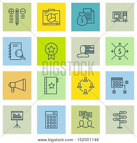 Set Of 16 Universal Editable Icons For  Topics. Includes Icons Such As Board, Money, Collaboration A