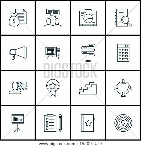 Set Of Project Management Icons On Discussion, Warranty, Innovation And Other Topics. Editable Vecto
