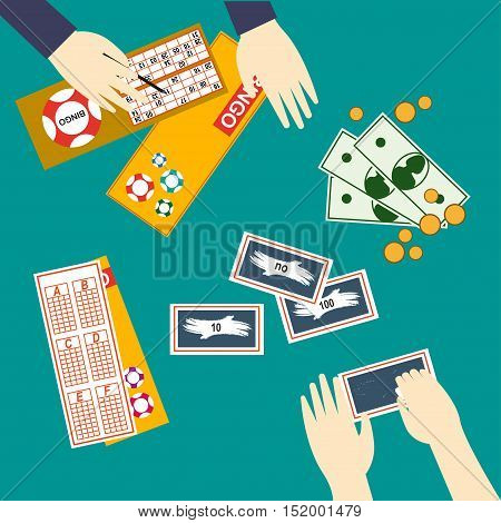 Lottery Vector illustration People are playing the lottery: scratching off a protective layer and crossing out numbers in the lottery ticket Top view Flat design