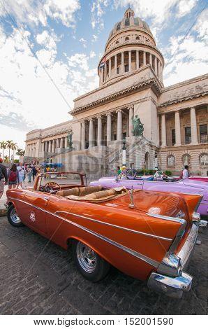 HAVANA, CUBA - DEC 30, 2009: View of El Capitolio, or National Capitol Building, the seat of cuban government until 1959.