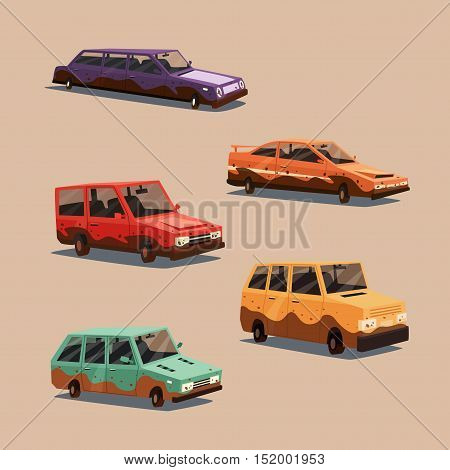 Set of dirty vintage american automobile. Cartoon vector illustration. Car isolated. Design element. Carwash.