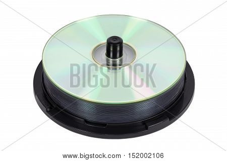 Stack of new CDs on spool isolated on white background with clipping path