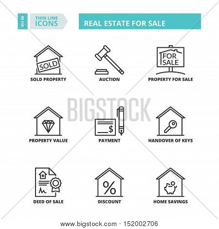 Thin Line Icons. Real Estate For Sale