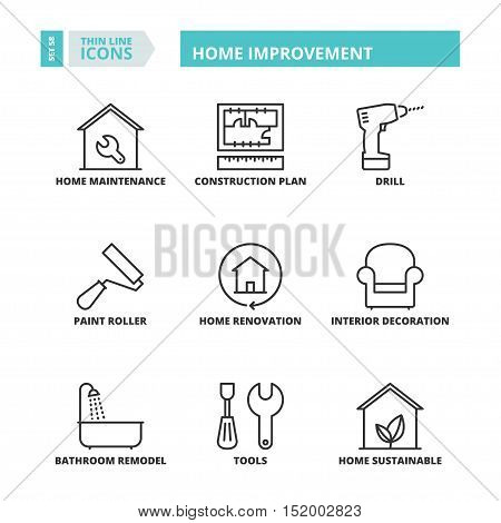 Thin Line Icons. Home Improvement.