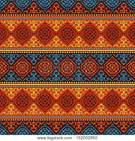 Retro style seamless vector pattern. Fabric, carpet, paper ornament
