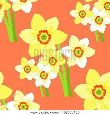 Seamless Pattern Bouquet Of Daffodils Flower On A Pink Background. Vector Illustration