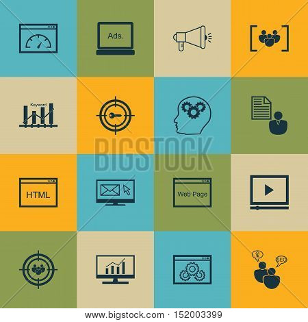 Set Of Marketing Icons On Digital Media, Media Campaign, Keyword Optimisation And Other Topics. Edit