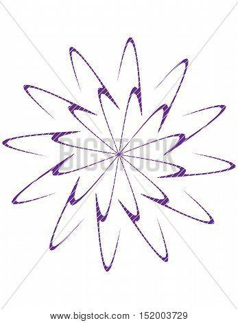 Double spiral burst design in purple on white background.