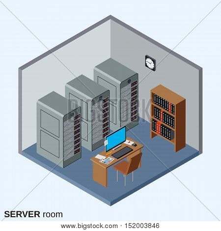Server room, data center interior flat isometric vector illustration
