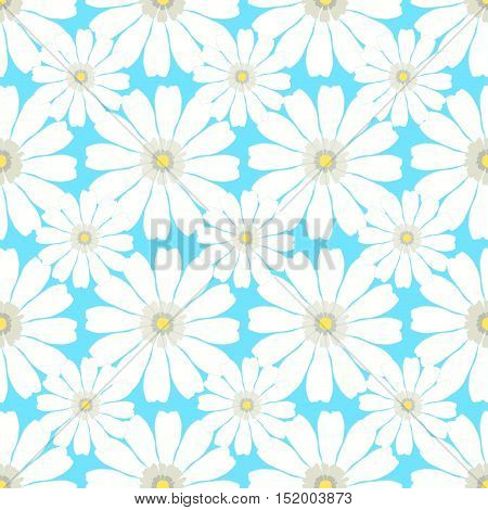 Seamless Pattern With Camomile On A Blue Background. Vector Illustration