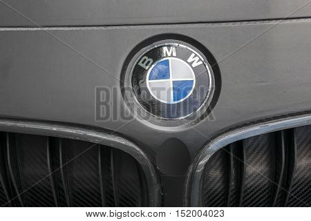 TURIN, ITALY - JUNE 13, 2015: Closeup of the BMW logo on a M4 DTM model