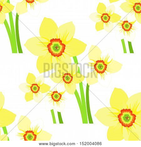 Seamless Pattern With Daffodils Flower. Vector Illustration