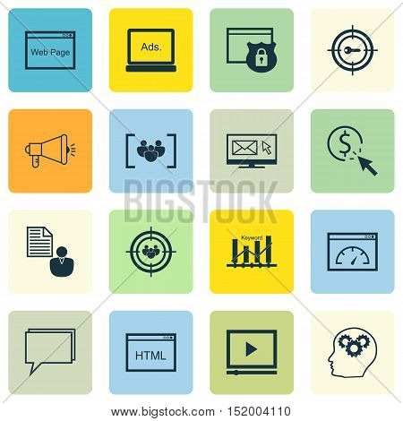 Set Of Marketing Icons On Brain Process, Loading Speed, Report And Other Topics. Editable Vector Ill