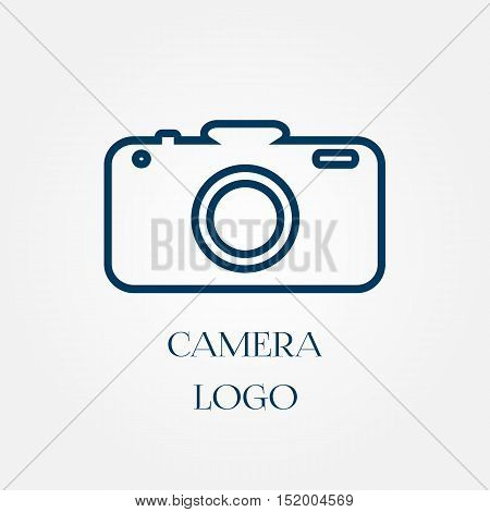 A simple logo camera. Blue icon. Isolated.