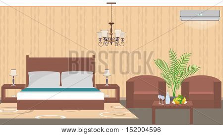 Luxury hotel room interior east style with furniture air conditioner houseplant. Vector illustration in flat style