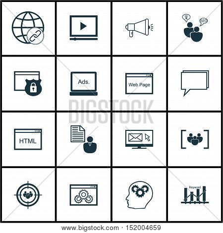 Set Of Advertising Icons On Coding, Brain Process, Newsletter And Other Topics. Editable Vector Illu